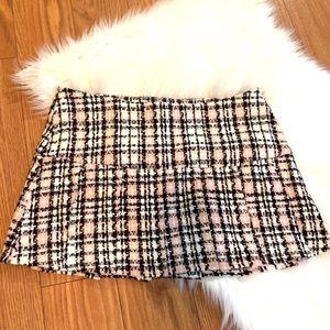 Black, Pink, White Wool Checked Mini Skirt
